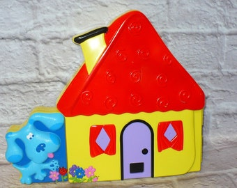 1998 BLUE'S CLUES House Storage Box with FELT Characters and Pieces Rare Crafts Blues Clues Blue