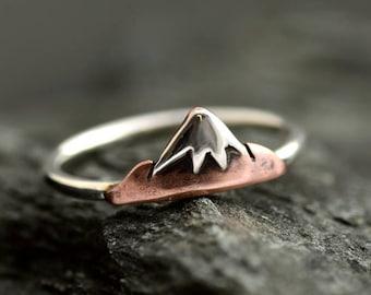 Mountain Ring, Stacking Ring, Snowy Mountain Range Sterling Silver Ring,