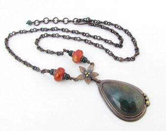 Ocean Jasper Copper Necklace with Flower Fire Agate