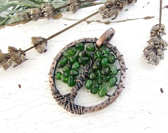 Diopside Tree of Life Pendant Copper Wire Wrapped