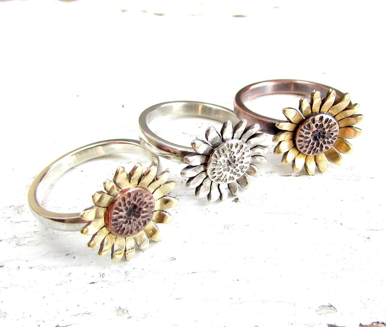 e5177804d Sunflower Ring Flower Ring Mixed Metal Boho Ring Sterling | Etsy