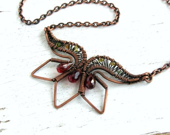 Copper Wire Wrapped Necklace with Red Garnet and Tourmaline