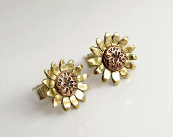 Sunflower Earrings, Stud Earrings, Floral Jewelry, Mixed Metal, MADE TO ORDER