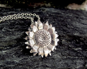 Silver Sunflower Necklace, Layering Necklace, Sterling Silver Flower Necklace, Gift for Her - MADE TO ORDER