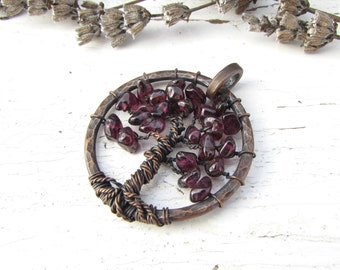 Garnet Tree of Life Pendant, Copper Wire Wrapped Necklace