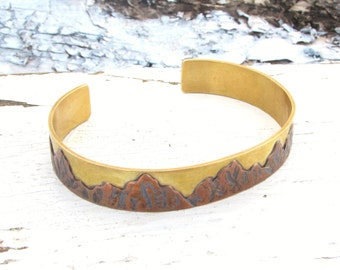 Mountain Cuff Bracelet, Mountain Range, Copper Bangle, Adjustable Nature Bracelet