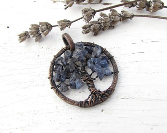 Iolite Tree of Life Pendant Copper Wire Wrapped