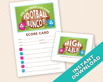 Are you Ready for Some Football Bunco Scorecard and Table Card Set (a.k.a. Bunko, score card, score sheet)