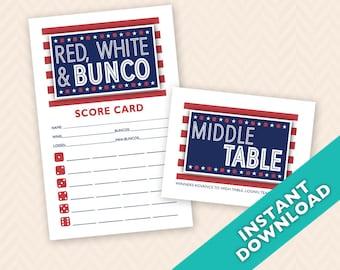 Red, White Bunco Scorecard and Table Card Set (a.k.a. Bunko, score card, score sheet)