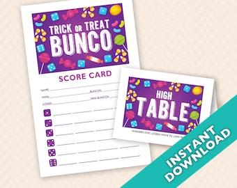 Halloween Bunco Scorecard and Table Card Set (a.k.a. Bunko, score card, score sheet)