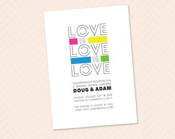 love is love is love wedding shower invitation lgbtq gay lesbian shower