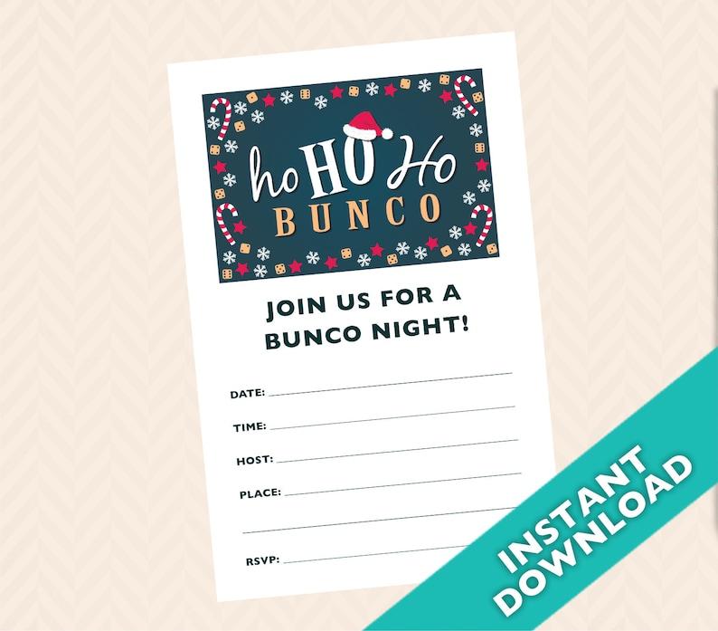 Christmas Bunco Invitation December Santa Clause Bunco image 0