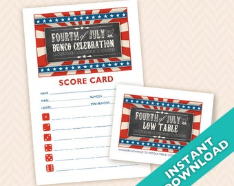 Fourth of July Printable Bunco Scorecard and Table Card Set (a.k.a. Bunko, score card, score sheet)