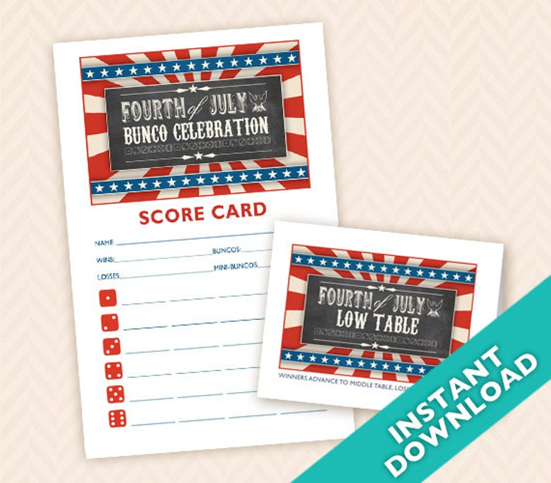 Fourth of July Printable Bunco Scorecard and Table Card Set image 0