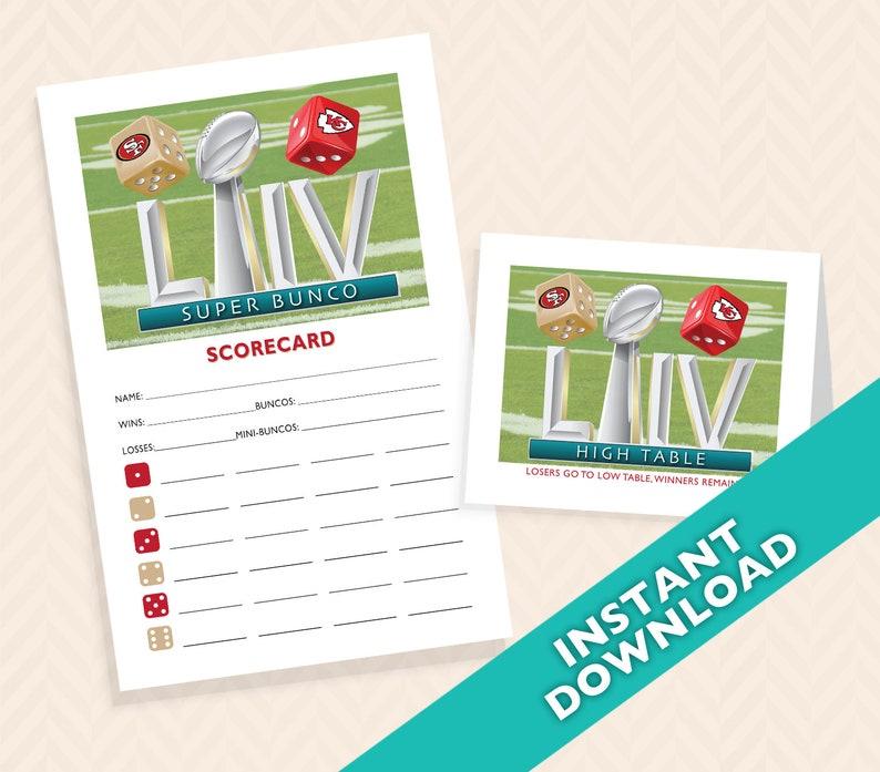 2019 Super Bowl Bunco Scorecard and Table Marker Set  image 0