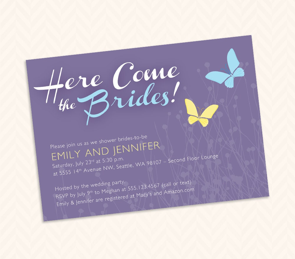 Lesbian Bridal Shower Invitation Design Lgbtq Wedding Two  Etsy-2773