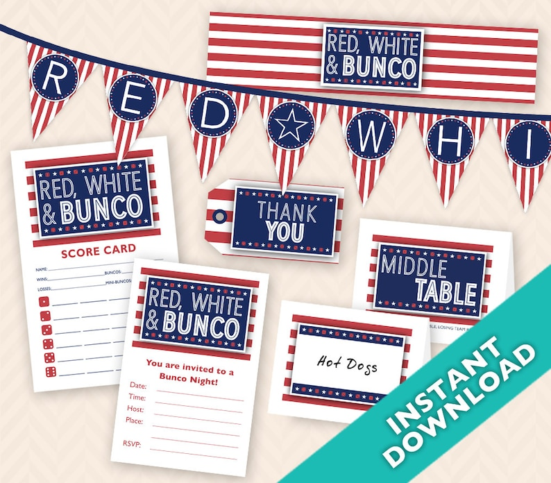 July Fourth Bunco Set  Deluxe printable 4th of July Bunco image 0