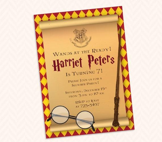 Harry Potter Urodziny Strona Zwyczaj Zaproszenie Projekt Etsy