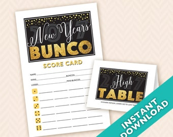 2018 New Years Bunco - Printable Winter Bunco Score and Table Card Set (a.k.a. Bunko, score card, score sheet)