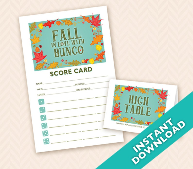 Fall in Love with Bunco  Printable Autumn Bunco Score and image 0