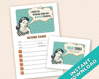 Downloadable Retro Housewife Printable Bunco Scorecard and Table Marker Set (a.k.a. Bunko, score card, score sheet)