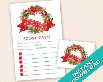 Holiday Bunco Scorecard and Foldable Table Marker Set (a.k.a. Bunko, score card, score sheet)