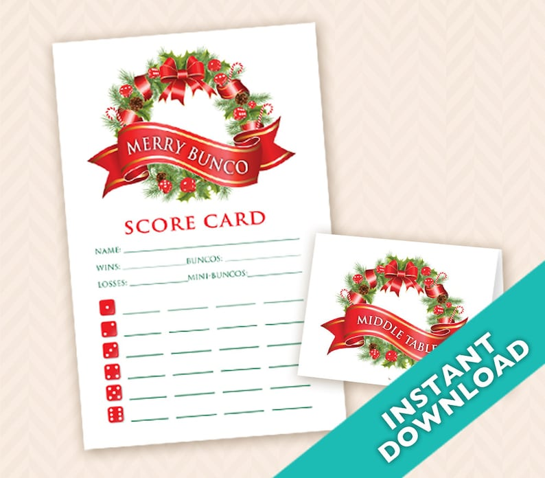 Christmas Bunco Scorecard and Table Marker Set a.k.a. Bunko image 0