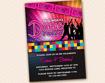 Custom Dance Birthday Party Invitation Design, DIY Printable