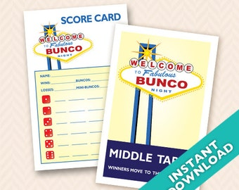 Printable Las Vegas Theme Bunco Scorecard and Table Marker Set (a.k.a. Bunko, score card, score sheet)