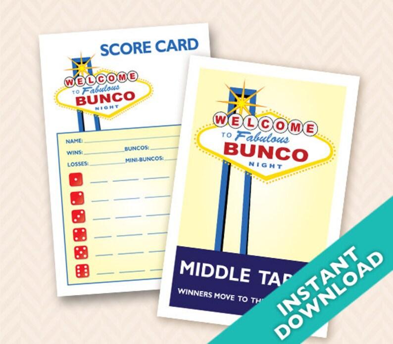 Printable Las Vegas Theme Bunco Scorecard and Table Marker Set image 0
