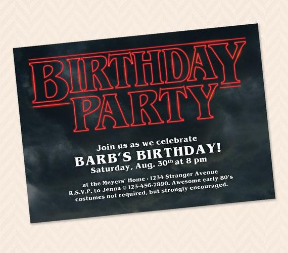 Stranger Things Birthday Party Invitation