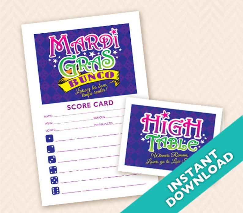Mardi Gras Bunco Party set  Printable table markers and image 0