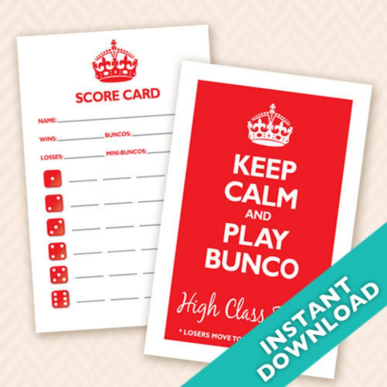 Keep Calm and Play Bunco Printable Bunco Scorecard and Table image 0