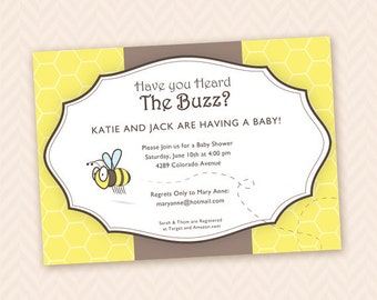 Bumbe Bee Printable Unisex Baby Shower Invitation Design