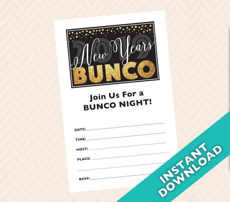Printable New Years Bunco Invitation 2019 New Years Bunco Etsy