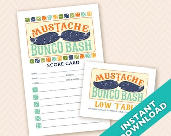 Mustache Bunco Bash  Printable Bunco Scorecard and Table Marker Set (a.k.a. Bunko, score card, score sheet)