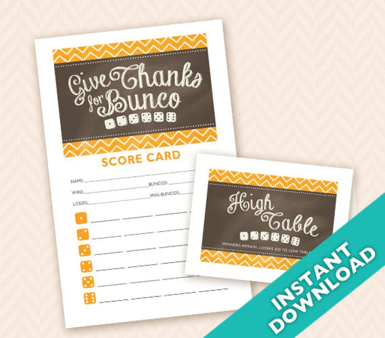 Downloadable Thanksgiving Printable Bunco Scorecard and Table image 0