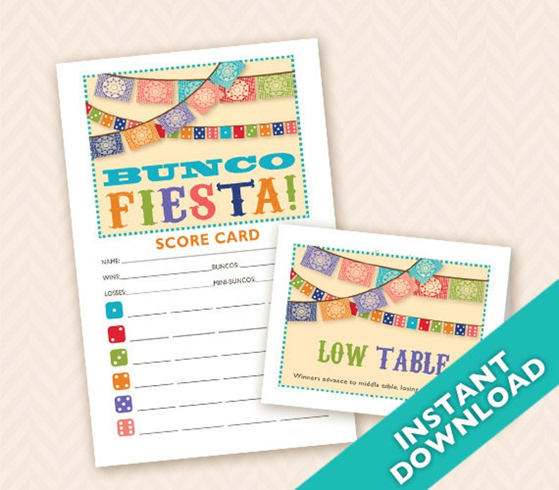 Downloadable Mexican Fiesta Printable Bunco Score and Table image 0