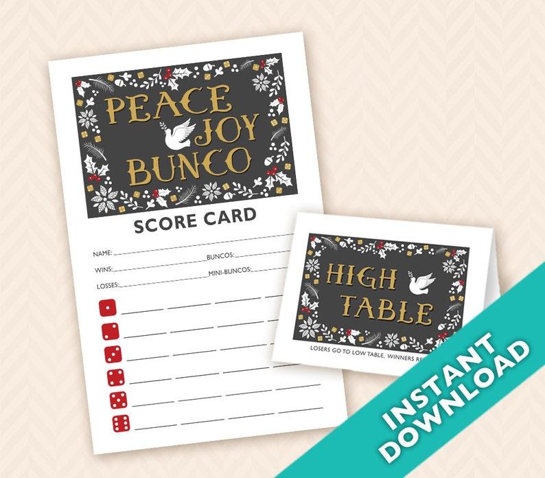 Peace Joy &  Bunco Scorecard and Table Marker Set  Instant image 0