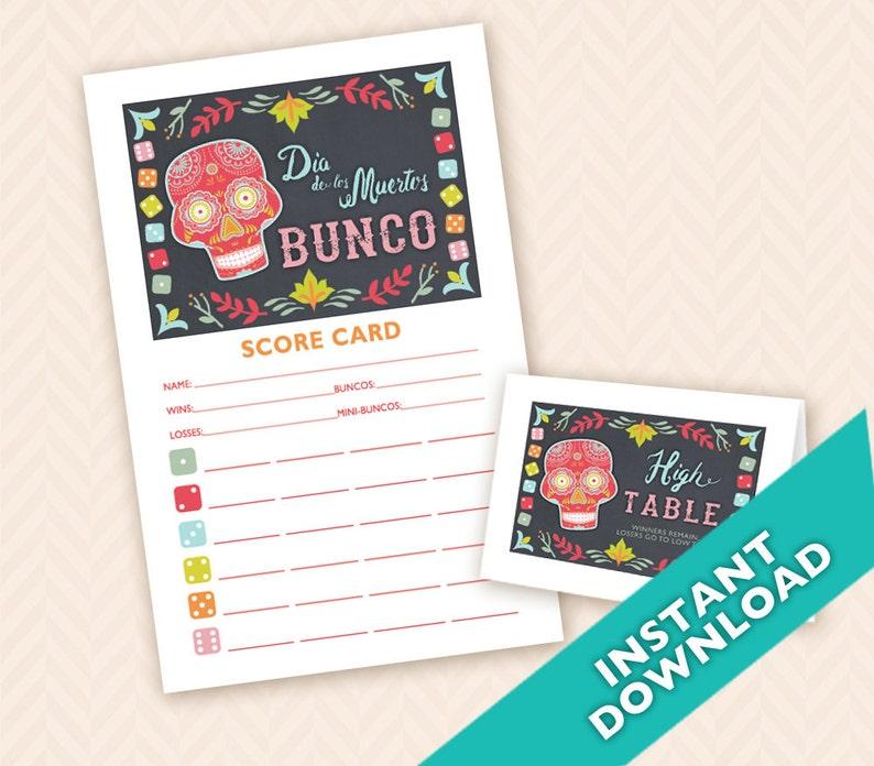 Dia de los Muertos Bunco  Printable Bunco Score and Table image 0