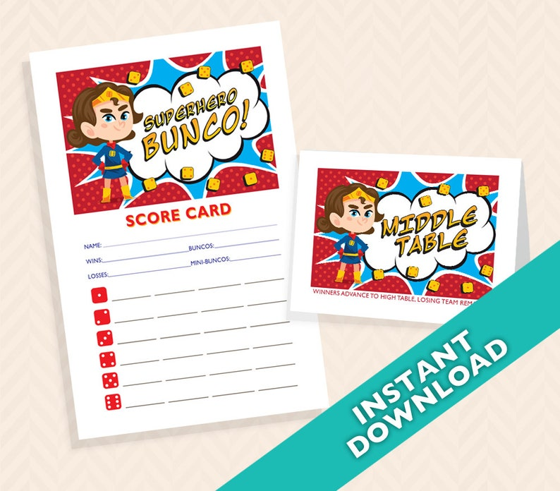 Superhero Bunco Set  Comic Book Bunco Score and Table Card image 0