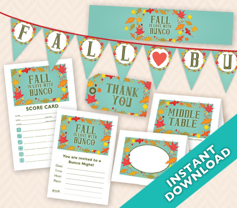 Fall in Love with Bunco Instant Download Printable Bunco image 0