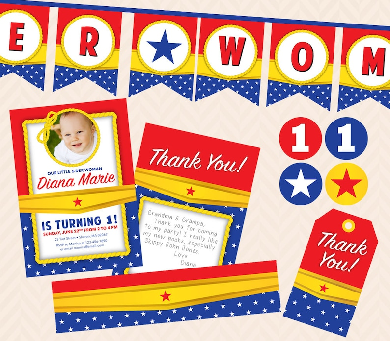 Wonder Woman First Birthday Printable Party Set image 0