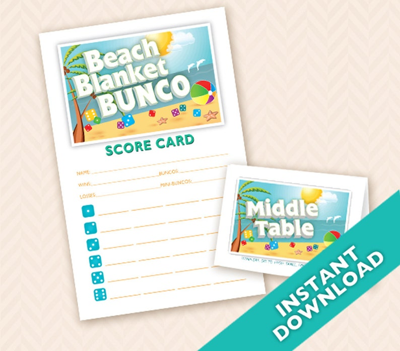 Beach Blanket Bunco  Printable Summer Bunco Theme image 0
