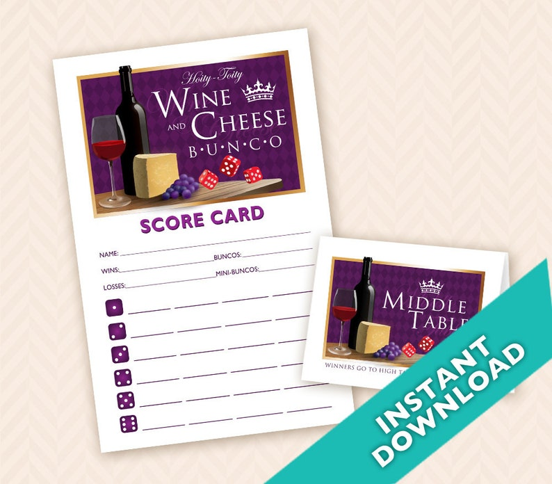 Wine and Cheese Bunco  Printable  Bunco Score and Table Card image 0