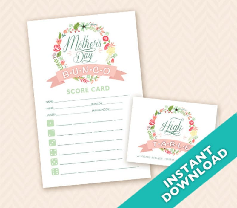 Mother's Day Bunco Score and Table Card Set  DIY download image 0