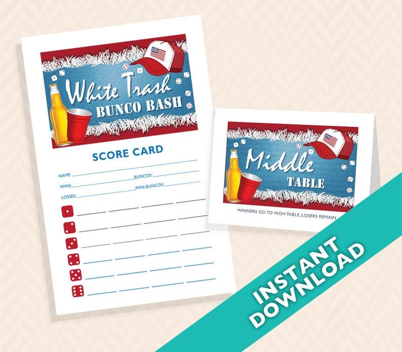 White Trash Bunco Bash   Bunco Scorecard and Table Card Set image 0