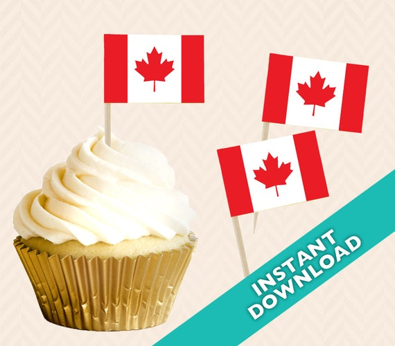 graphic relating to Printable Canadian Flag named Canadian Flag cupcake topper - Do-it-yourself Printable toothpick flag
