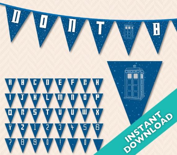 image regarding Doctor Who Printable known as Medical professional Who Tardis Printable Banner PDF