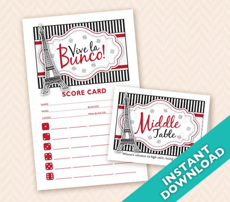 Paris or French Theme Bunco Night  Printable Bunco Scorecard image 0